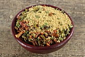A ready-made mix of couscous with dried vegetables and spices