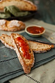 Slices of Irish Soda Bread with Jam