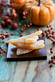 Crystallised pieces of squash