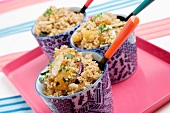 Moroccan Cous Cous with roasted squash, toasted almonds and coriander.