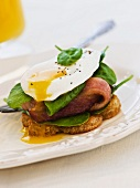 A fried egg on toast with baby spinach and bacon