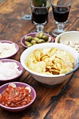 Dips With crisps and red wine