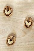 Three walnut halves