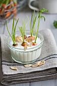 Baby carrots in garlic dip