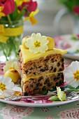 A slice of simnel cake (Easter cake, England)