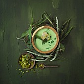 Parsley soup with caramelised chick and gremolata
