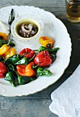 Roasted mini pepper with an anchovy dip