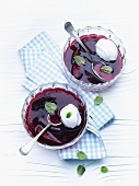 Elderberry and apple soup with quenelles of whisked egg white
