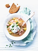 Sauerkraut stew with smoked pork chop and sour cream