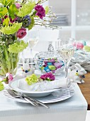 A place setting on an Easter table