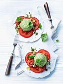 Broccoli and basil mousse on slices of tomato