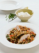 Chicken breast with white beans and yoghurt (Morocco)