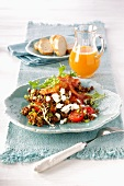Lentil salad with bacon and goat's cheese