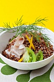 Quinoa with smoked trout, green tomatoes and peppers