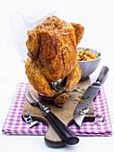 Beer-can roast chicken