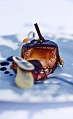Glazed chocolate mousse with caramelised banana centre