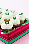 Christmas cupcakes in a gift box