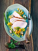 Turkey breast with leek, mushrooms and oranges