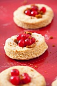 Unbaked wholemeal scones with redcurrants