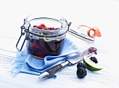 Sweet fruit spread with blackberries and limes
