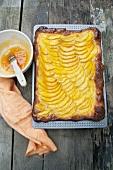 Mango cake with apricot glaze