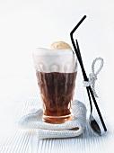 Eiskaffee (iced coffee drink) with vanilla ice cream