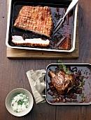 Crispy pork belly and veal shank