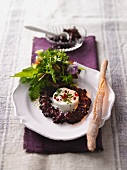 Goat cheese with herb salad and red beets