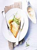 Salmon fillet with muscadet sauce