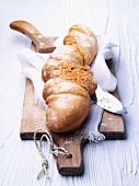 A bread twist on a chopping board