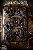 Double Chocolate Chip Cookies on a Pan