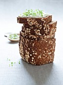 Wholegrain bread with herb quark and cress