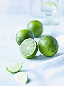 Limes, whole and partly cut