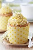 Elderflower muffins on plates