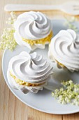 Meringues with elderflower cream