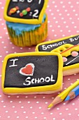 Biscuits decorated to look like school blackboards