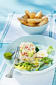 Cod tartar with avocado and chips (Scandinavia)