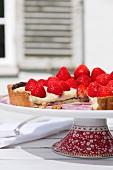 Strawberry tart on a tart stand
