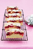 Rhubarb slices with crumble and icing sugar