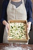 Herb focaccia, unbaked