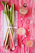 Rhubarb stalks and rhubarb juice (view from above)