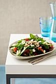 Vegetable Salad - Sugarsnap Peas, Cannelini Beans, Mesclun Mix, Cherry Tomatoes, Feta, Basil