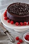 Chocolate Ganache Cake with Chocolate Curls and Raspberries