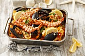 Zarzuela (seafood stew, Spain) in a roasting tin