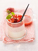 Panna cotta strawberry dessert