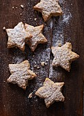 Cinnamon stars dusted with icing sugar