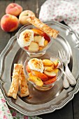 Peach dessert with yoghurt and puff pastry