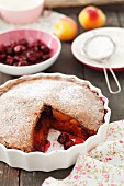 Apricots and sour cherries pie