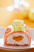 Smoked salmon terrine with peach and cucumber