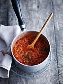 Bolognese sauce in a saucepan